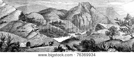 A Hunting Adventure In America. View Of Bear's Lake, Vintage Engraving.