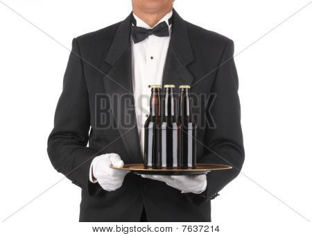 Butler With Beer Bottles On Tray