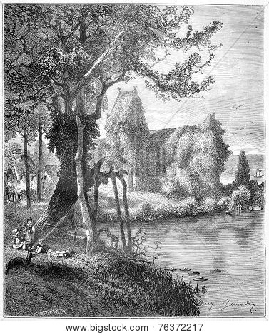 Croqueboeuf Church Or Chapel Of Ivy In Croqueboeuf, Calvados, France, Vintage Engraving.