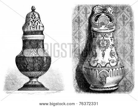 Faience From Rouen. Fontaine Applies; Painted, Sugar, A Yellow Ocher Decor. - Drawing Of Edward Garn