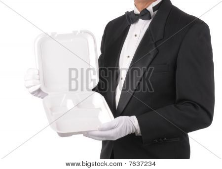 Butler With Take-out Food Container