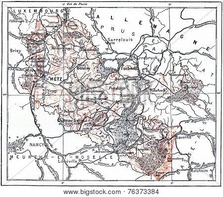 Topographical Map Or Lorraine, France, Vintage Engraving