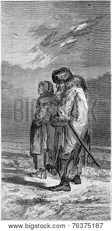 A Farmer And His Wife In Winter Suit (livonia), Vintage Engraving.