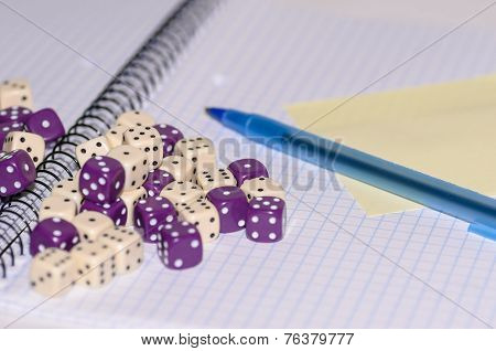 Open Exercise Book With Sticky Card, Pen And Dices
