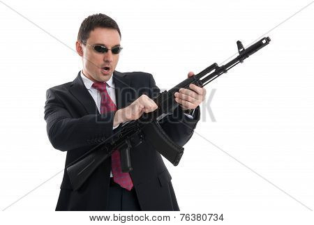 bodyguard with automatic rifle isolated on white background poster