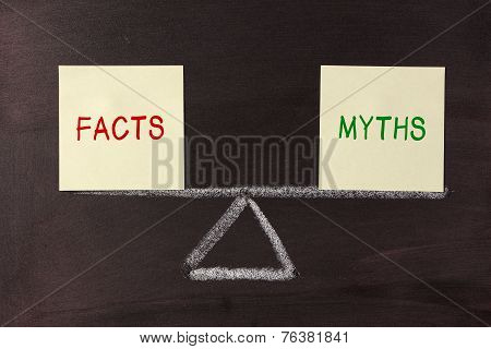 Facts and Myths Balance concept on blackboard. poster