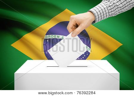 Voting Concept - Ballot Box With National Flag On Background - Brazil
