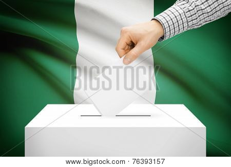 Voting Concept - Ballot Box With National Flag On Background - Nigeria