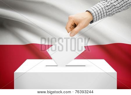 Voting Concept - Ballot Box With National Flag On Background - Poland