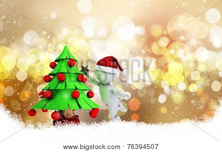 3D morph man putting the star on a tree on a decorative Christmas background with bokeh lights and snowflakes