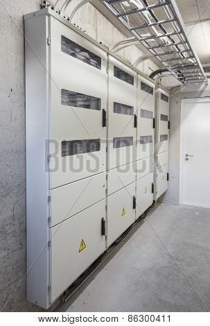 Electricity boxes and meters in apartment building
