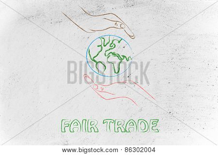 Hands Holding Globe, Concept Of Green Economy