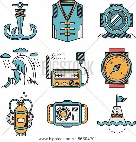 Flat line style nautical vector icons