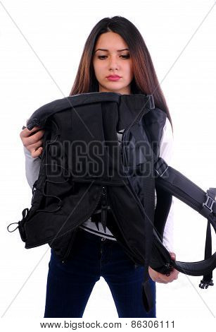 cute student girl looking for something backpack,