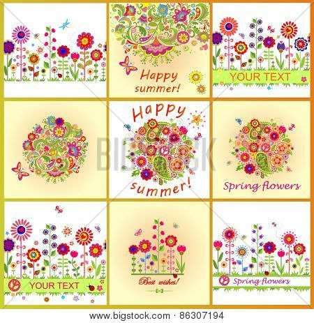Summery cards with colorful abstract flowers
