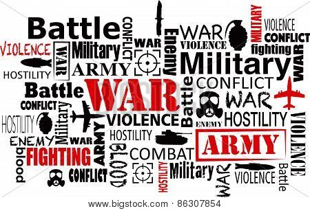 war violence word cloud vector illustration