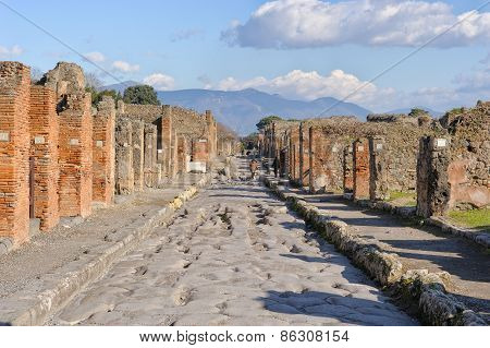 Naples, Italy - January 19, 2010: Street Of Pompeii