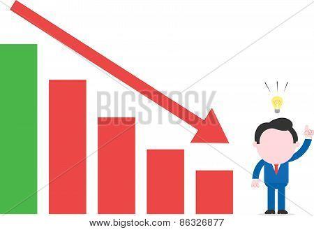 Businessman With An Idea Beside Bar Chart With Arrow Down