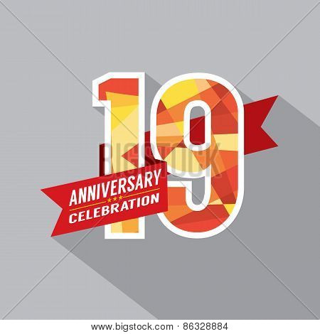 19Th Years Anniversary Celebration Design.