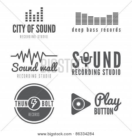 Set of logo, badge,label, sticker, emblem, print or logotype elements for sound recording studio, t-