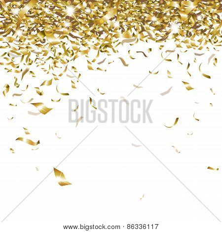 festive glittering gold confetti falling on a white background poster