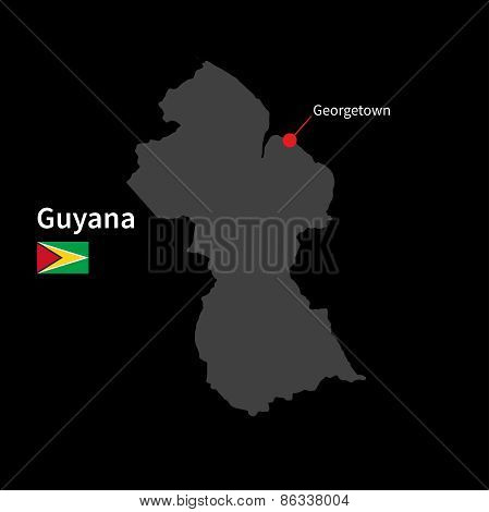 Detailed map of Guyana and capital city Georgetown with flag on black background