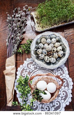 Easter Composition Of Catkins, Eggs And Cress On Wooden Table