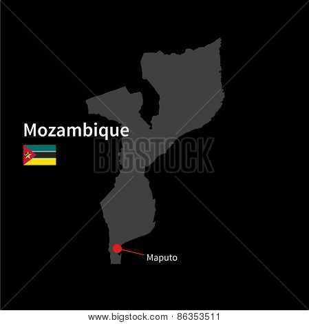 Detailed map of Mozambique and capital city Maputo with flag on black background
