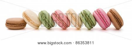 8 Pcs Colorful Macaroons Line Up On White With Clipping Path