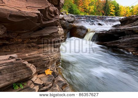 Michigan's Upper Peninsula Bonanza Falls In Autumn