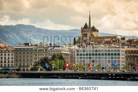 Geneve, Switzerland - 11 May 2014:  view of the modern embankment and the center of Geneva, Switzerland