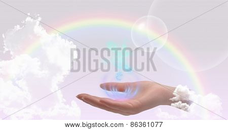 Healing hand on a beautiful background with the rainbow poster