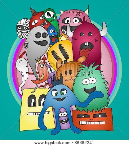 Funny doodle monsters stiker