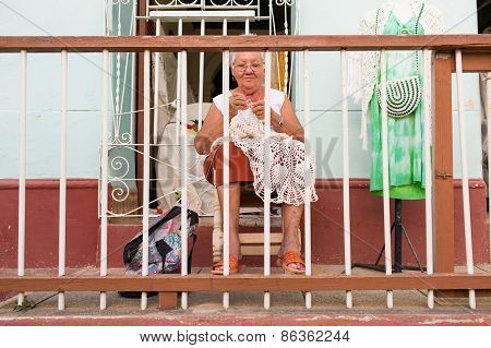Trinidad - February 23: Unkown Woman Working On Her House On February 23, 2015 In Trinidad. Old Amer