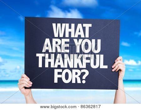 What Are You Thankful For? card with beach background