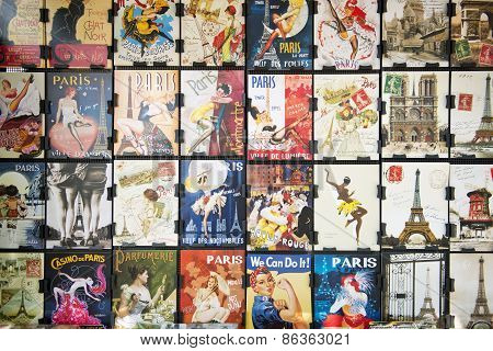 Collections of vintage postcards from paris.