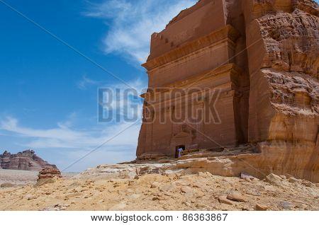 Nabatean tomb in Madaîn Saleh archeological site Saudi Arabia. poster