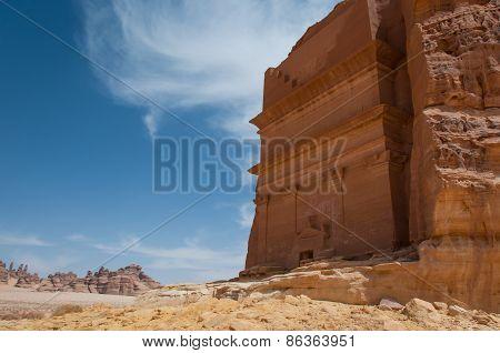 Nabatean tomb in Mada?n Saleh archeological site Saudi Arabia. poster