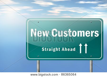 Highway Signpost New Customers