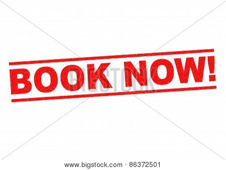 BOOK NOW! red Rubber Stamp over a white background. poster
