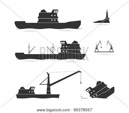 Silhouettes Of Cargo Ships And Floating Crane