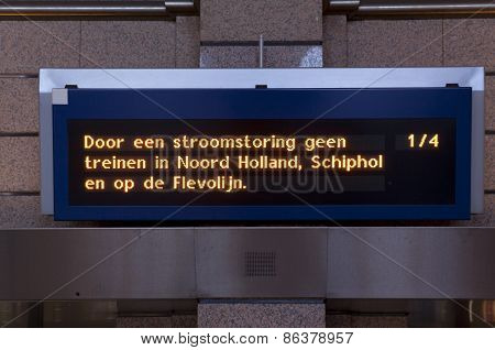 Power Outage There Ride No Trains In The Netherlands.railway Sign At Station