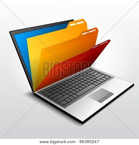 Group of folders inside open laptop. Qualitative vector illustration about information storage computers database technology sharing etc. It has transparency blending modes gradients blends poster