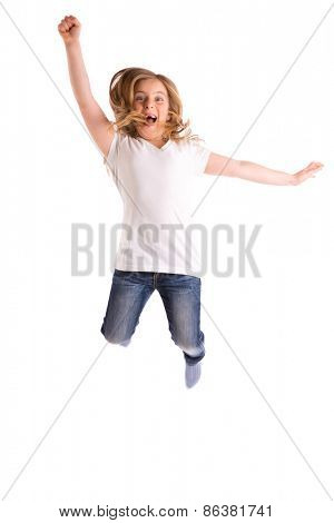 blond kid girl indented jumping high wind on hair denim jeans at white background