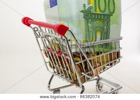 European money and coins and banknotes in the shopping cart poster