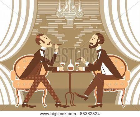 Vector Gentlemen In Tobacco Smoke In Club