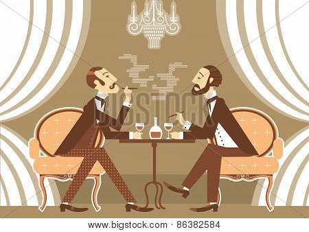 Vector Gentlemen Talking And Drinking Alcohol In Club