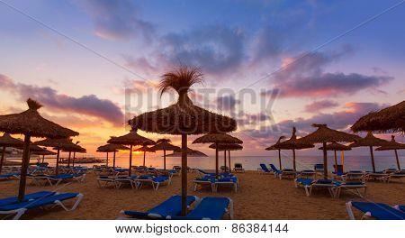 Mallorca sunrise in Magaluf Palmanova beach Magalluf in Balearic Islands Spain