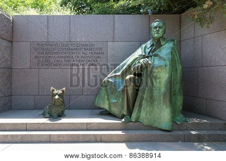 Franklin Delano Roosevelt Memorial with dog in Washington DC USA
