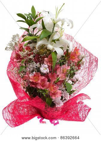 Bouquet of flowers in pink package isolated on a white